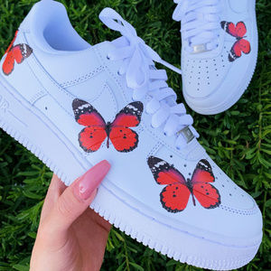 Custom Nike, Red Butterfly Shoes, nike air force 1